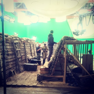 Trenches and soldiers in Chromakey Studio of R-Studios